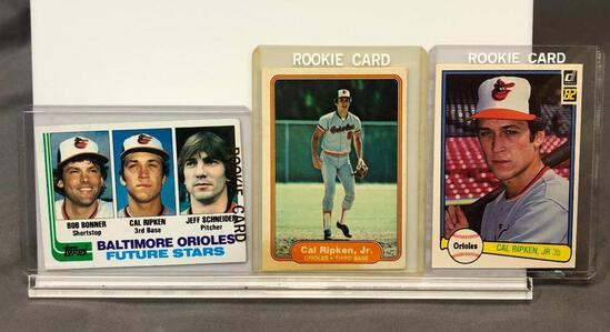 (3) 1982 Cal Ripken Jr Rookie Cards - Topps #21 Orioles, Donruss #405 Orioles Cal Ripken Jr 3B &