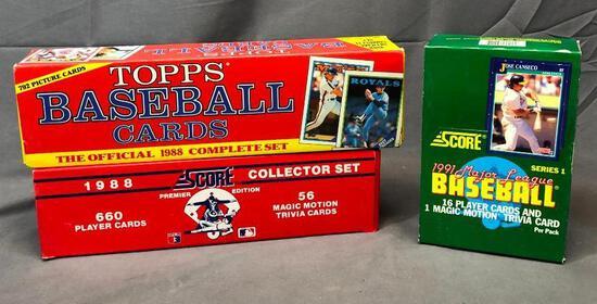 (3) 1991 SCORE Baseball Wax Packs, 1988 Topps Official Complete Set & 1988 SCORE Premier Edition