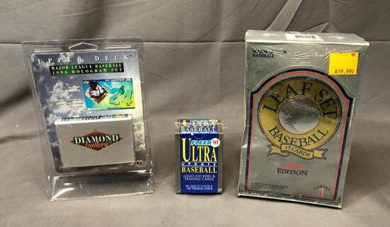 Lot of 3; 1992 Donruss LEAF Set Series I, 1991 Fleer Ultra Update Logo Stickers and Trading Cards &