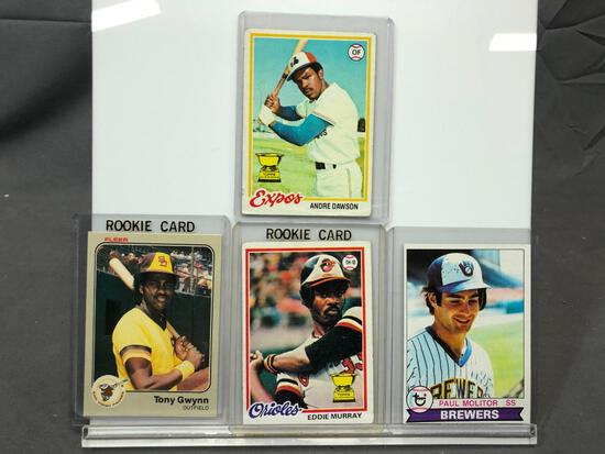 Lot of 4; Gwynn, Dawson, Murray, Molitor Rookie Cards - 1978 Topps #36, 1978 Topps #72, 1979 Topps