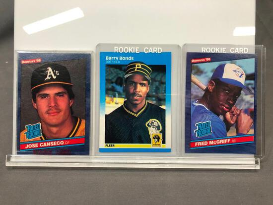 Lot of 3; Rookie Cards - 1986 Donruss #28 Fred McGriff 1B, 1987 Fleer #604 Barry Bonds OF & 1986