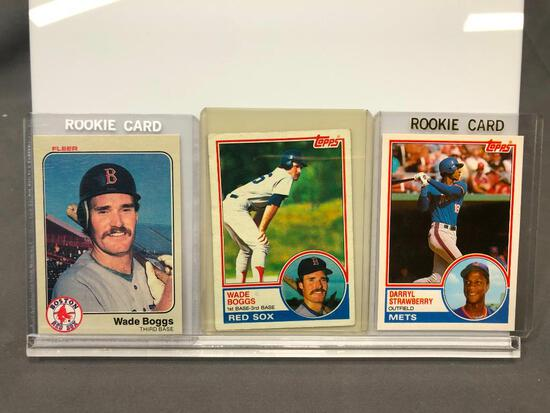 Lot of 3; Rookie Cards - 1983 Topps #108T Traded Darryl Strawberry OF, 1983 Fleer #179 Wade Boggs 3B