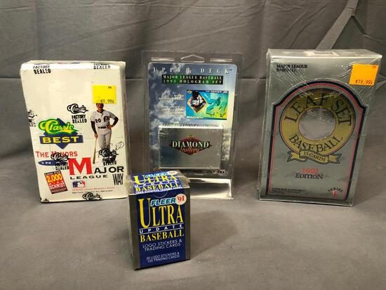 Lot of 4; 1992 LEAF Set Wax Packs, 1993 Upper Deck Set, 1991 CLASSIC Best The Minors In Major League