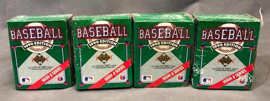 (4) 1990 Upper Deck The Collector's Choice 3D Team Logo Holograms & Baseball Cards - Factory Sealed