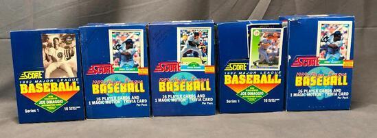 Total 5 Boxes - (2) SCORE 1992 Major League Baseball Series 1 & (3) SCORE 1989 Major League Baseball