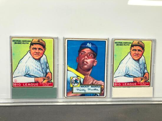 Lot of 3; Reprint Baseball Cards - (2) Goudey Gum #181 George Babe Ruth & Topps #311 Mickey Charles