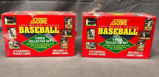 (2) SCORE 1992 Major League Baseball Collector Set - 910 Cards w/ 17 Bonus Cards - Factory Sealed