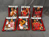 (6) Basketball Michael Jordan Illustrated by Glen Green - Numbered Rectangular Ceramic Plates w/ COA