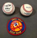 Lot of 3; (2) Signed Baseballs & Yankees 50th Anniversary Patch Lou Brock, Gayle Sayers, Hall of