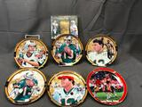 Football Lot of 7; Dan Marino Collection - (6) Collectible Illustrated Round Plates w/ COA & Upper