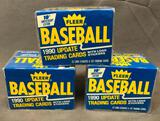 (3) 1990 Fleer Update Trading Cards w/ Logo Stickers 10th Anniversary Edition