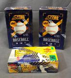 Total 3 Boxes - (2) SCORE 1993 Major League Baseball 16 Per Pack & PINNACLE Hobby Baseball 1995