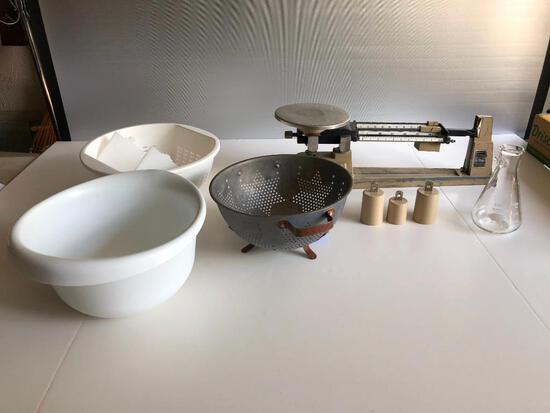Vintage Scale and Colanders