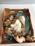 Sea Shells, Cat Figurines,Dolphins, and Glass PaperWeight
