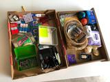 Two Boxes of Office Supplies -Tape, Glue, Pins