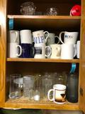 3 Cabinets of Coffee Cups Water Bottles and More