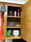 3 Kitchen Cabinets Containing Soup Bowls, Mixing Bowls and Glass Pie Pans