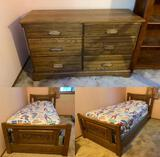 Single Bed w/ Sports Bedspread and Matching Chest of Drawers