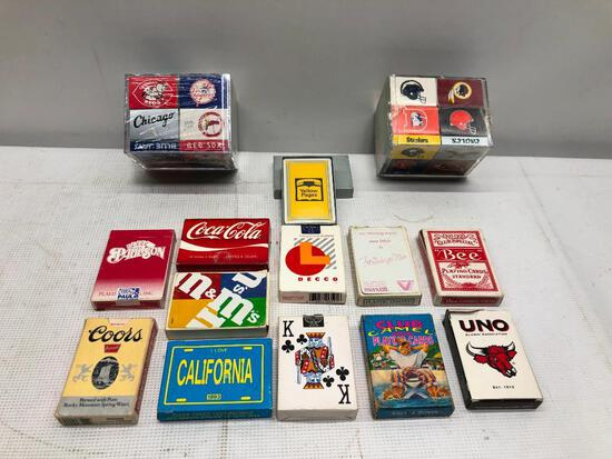 Flat of Vintage Playing Cards and Sports Matchboxes