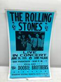 Concert Poster, 1976 Rolling Stones and Doobie Brothers San Francisco Cow Palace