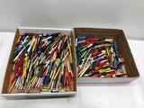 2 Flats Full of Old Advertising Pens