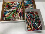 3 Boxes Full of Advertising Pens and Pencils