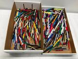 2 Boxes Full of Advertising Pens and Pencils