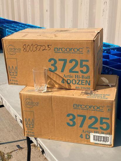 8 Dozen (96) - 2 Cases Cardinal Int'l Arcoroc Artic Hi-Ball 8-3/4oz Glasses No. 3725