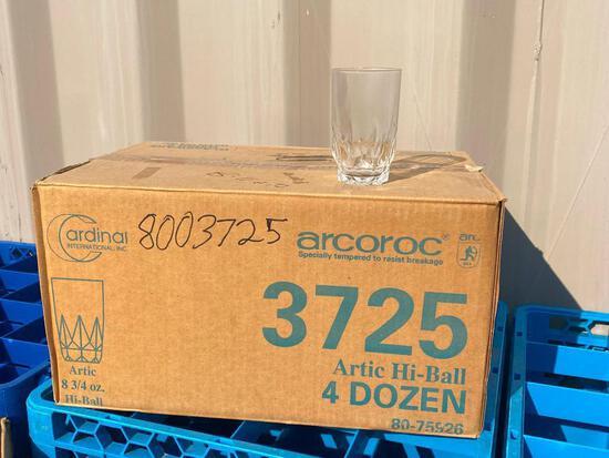 4 Dozen (48) - 1 Case Cardinal Int'l Arcoroc Artic Hi-Ball 8-3/4oz Glasses No. 3725