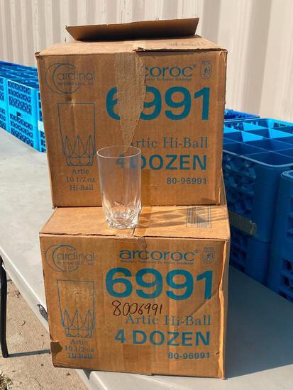8 Dozen (96) - 2 Cases Cardinal Int'l Arcoroc Artic Hi-Ball 10-1/2oz Glasses No. 6991