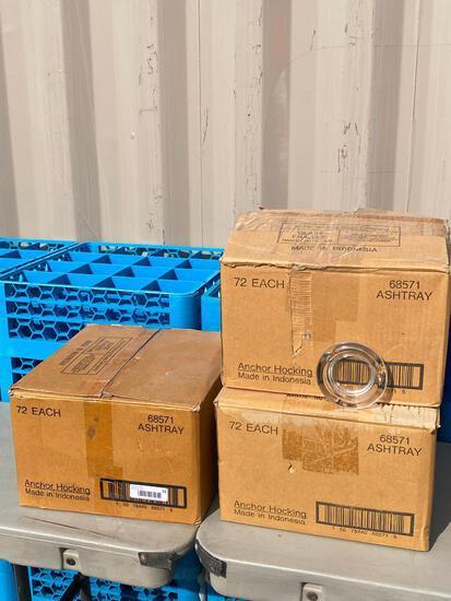 3 Cases, 18 Dozen (216) New Anchor Hocking Glass Ashtrays No. 68571