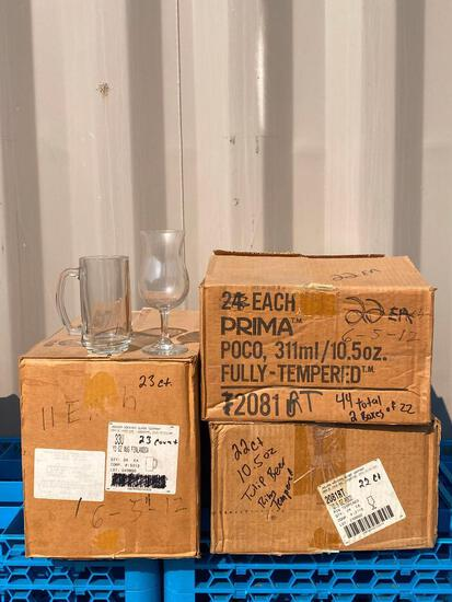 23, 13oz Finlandia Glass Beer Mugs by Anchor Hocking, 44, 10.5oz Prima Fully Tempered Tulip Glasses