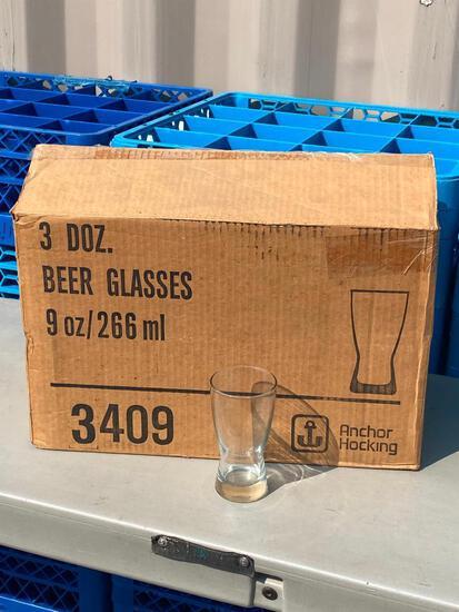 3 Dozen (36) Anchor Hocking 9oz Beer Glasses No. 3409