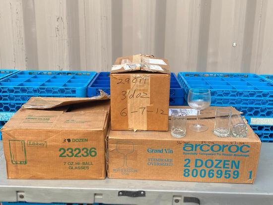 3 Cases of Glasses, 7oz Hi-Ball, 13oz Grand Vin Super Ballon Oversize Stemware, Water/Cocktail