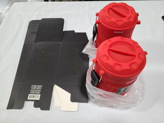 (2) NEBO Poppy Lanterns w/ Case Red