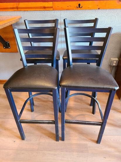4 MTS Seating Metal Ladder Back Restaurant Bar Stools w/ Cushioned Seat 4x$