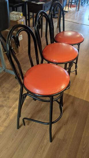 Lot of 10 Bar Stools w/ Metal Frame and Cushion Seat, All 10 One Price