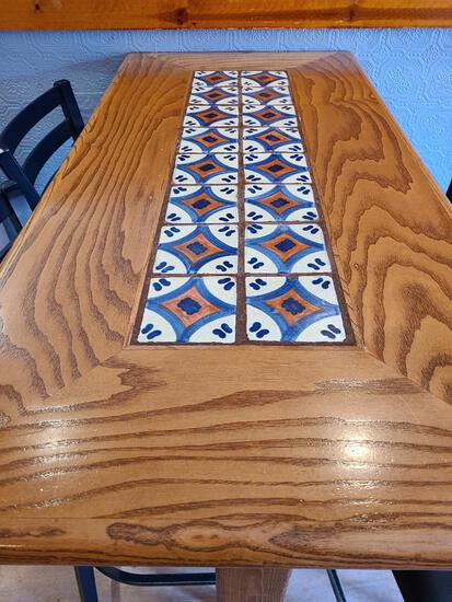 Lot of 4 Wall Mount High-Top Tables, 48in x 24in x 44in High, Wood & Tile Top