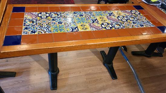 Aztec Tile Top Restaurant Tables w/ Double Pedestal Base 25in x 60in
