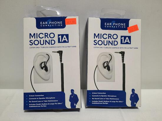 (2) Micro Sound 1A Listen Only Tubeless Earpieces - 3.5mm Connection