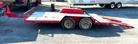 Heavy Duty Equipment Trailer, 13ft 6in Tandem Axle, Rear Ramps, 2-5/16 Hitch, Clean, Shop-Made,