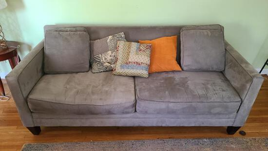 Suede Style Couch, Earthtone w/ Extra Cushions