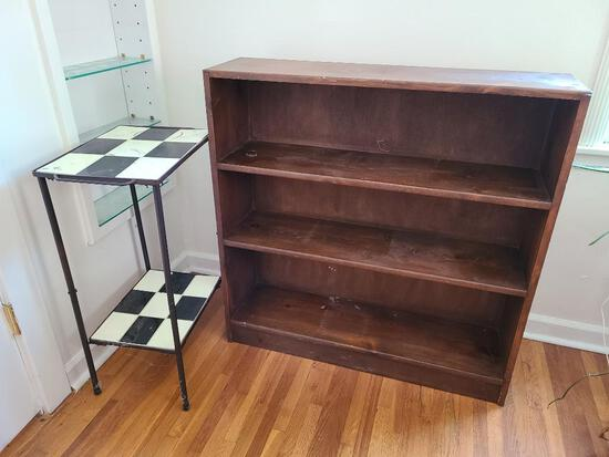 Wood Bookshelf and Wrought Iron Tile Top Stand