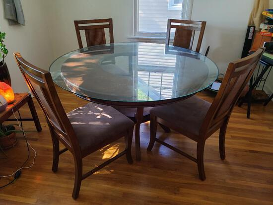Contemporary Glass Top Round Dining Room Table w/ 4 Chairs, 54in Diameter Top
