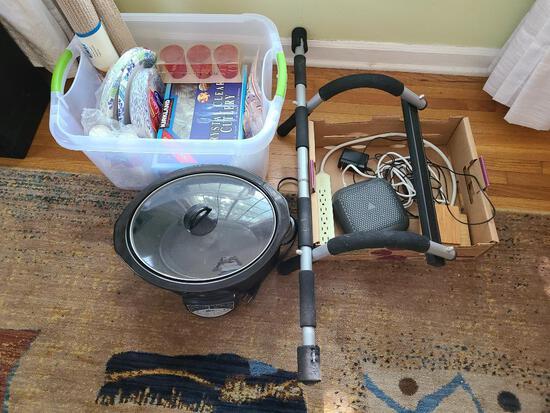 Plastic Silverware & Paper Plates, Crock Pot Slow Cooker, Pull-Up Bar, Cords