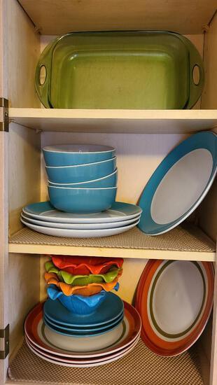 Bright Colored Plates, Bowls and Baking Dish