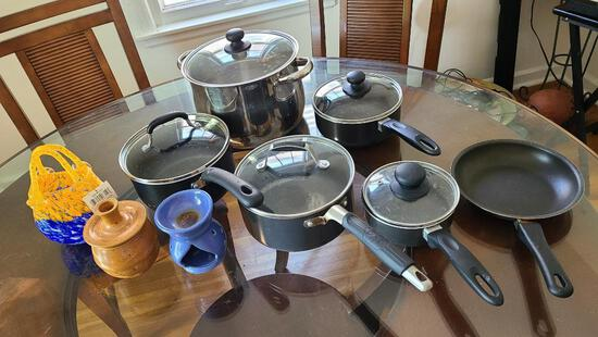 Pots and Pans w/ Glass Lids and Some Glassware