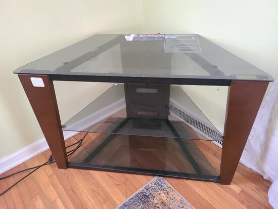 INIT 40in Glass Top TV Stand w/ Two Glass Shelves