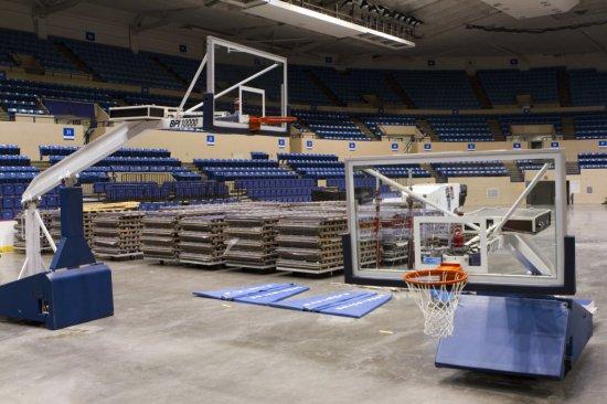 2 Collegiate Basketball Goal Systems -  MN: BPI 10000 w/ Shot Clock, Glass Backboard, Rims Complete