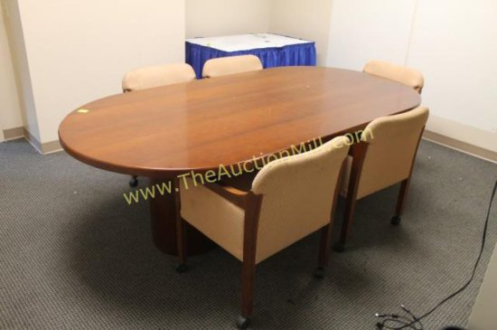 Round Wood Conference Table 8'x4' Used by Coaches of Basketball and Hockey